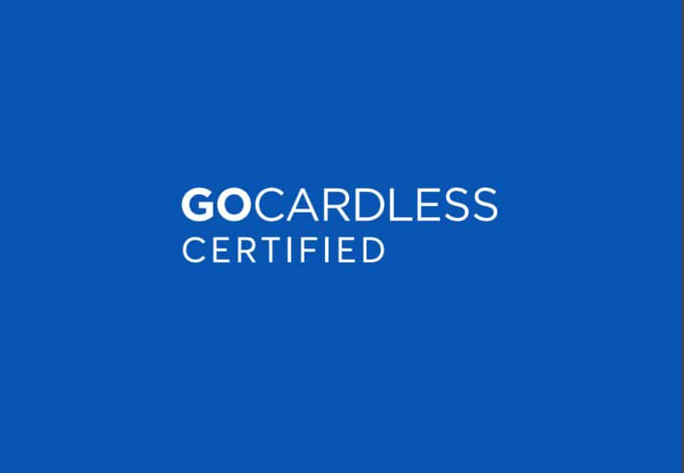GoCardless Certified white text on blue background