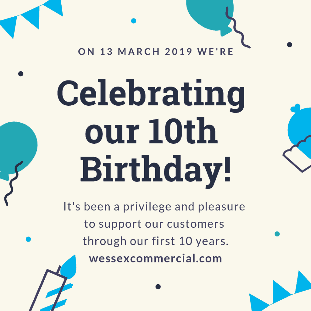 Celebrating our 10th birthday on 13 March 2019! Bunting, balloons and candles.