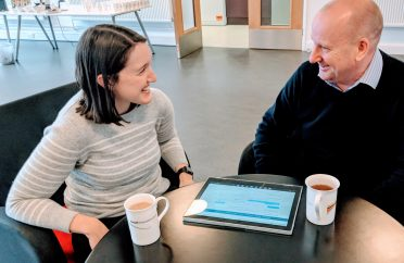 Elly and Graham talking over coffee at Yeovil Innovation Centre in Somerset