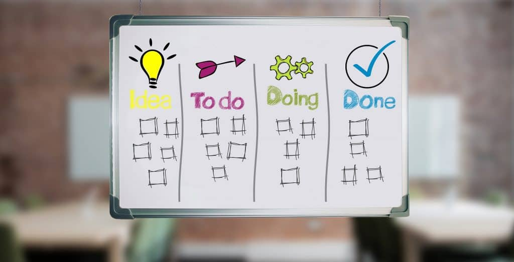 Simple kanban board: ideas, to do, doing, done