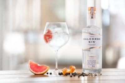 Bottle and glass of Salcombe Gin