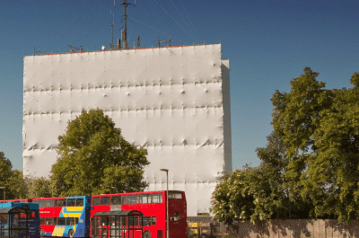Tufcoat wrapped building showing weather protection and environmental containment