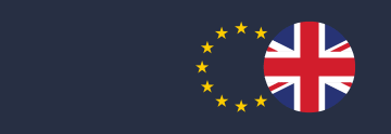 Circle of British flag overlapping circle of EU stars on dark blue background symbolising Brexit