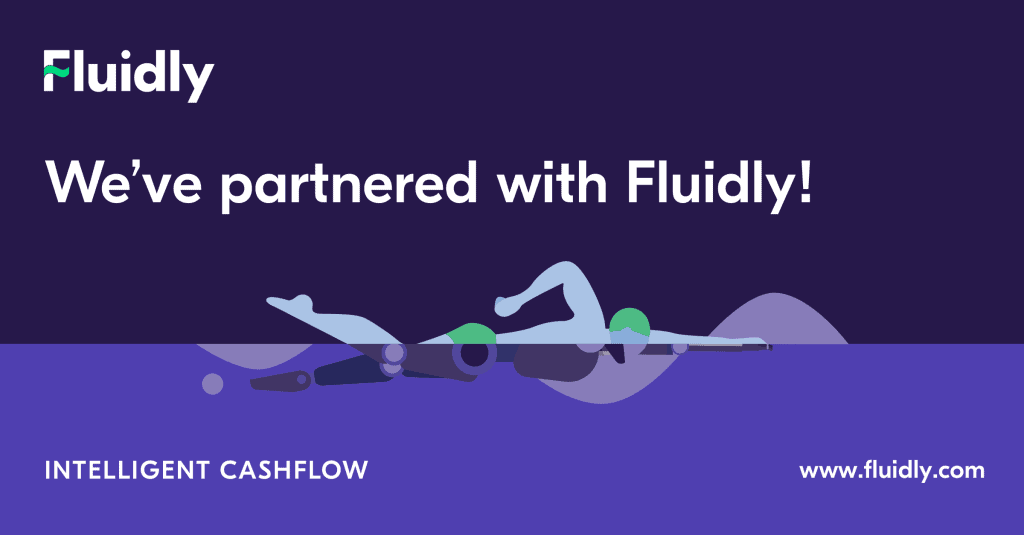 """Graphic says 'Fluidly: we've partnered with Fluidly! Intelligent Cashflow www.fluidly.com"""" and shows a swimmer"""